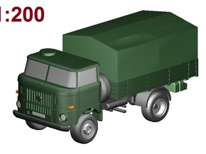 W50 Pritsche+Plane /flat bed+canvas (1:200) in Frosted Ultra Detail