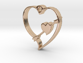 Cupid's Shot Heart Pendant  in 14k Rose Gold