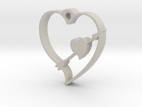 Cupid's Shot Heart Pendant  in Natural Sandstone