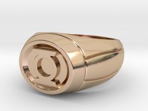 Green Lantern Ring in 14k Rose Gold Plated Brass