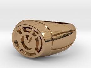 Orange Lantern Ring in Polished Brass