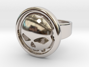 Harley Davidson Round Ring in Rhodium Plated Brass