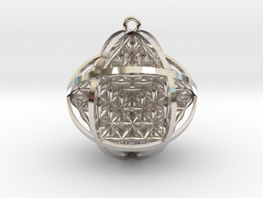 "Ball Of Life 1.5"" Pendant  in Rhodium Plated Brass"