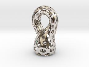 Klein Bottle, Small in Rhodium Plated Brass