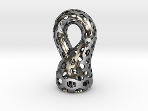 Klein Bottle, Small in Fine Detail Polished Silver