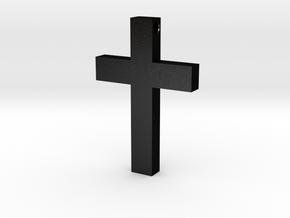Latin Cross Pendant (Monroe Cross Variation) in Matte Black Steel