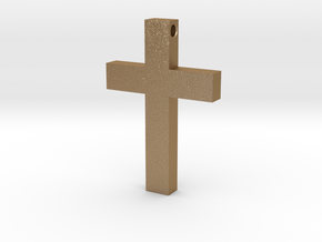 Latin Cross Pendant (Monroe Cross Variation) in Matte Gold Steel