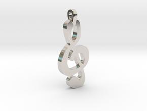 Treble Clef Pendant in Rhodium Plated Brass