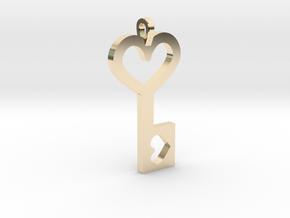 Heart Key Pendant in 14K Yellow Gold