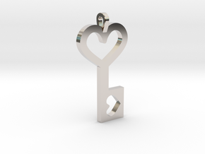 Heart Key Pendant in Rhodium Plated Brass