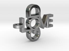 Love God Pendant in Fine Detail Polished Silver