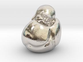 To Sleep Sitting Up Laughing Buddha in Rhodium Plated Brass