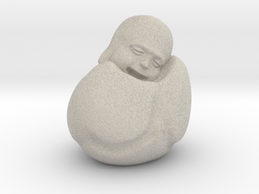 To Sleep Sitting Up Laughing Buddha in Natural Sandstone