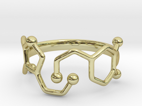Dopamine Serotonin Ring - Size 7 in 18k Gold Plated Brass