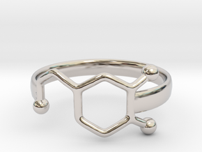 Dopamine Ring Size 6  in Rhodium Plated Brass