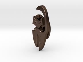 Cat Cufflink in Polished Bronze Steel