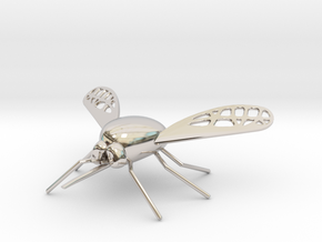 Bee Fly Pendant in Rhodium Plated Brass