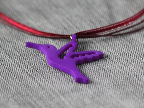 Hummingbird Pendant in Purple Processed Versatile Plastic