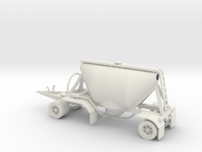 S-scale 1/64 Shorty Dry Bulk Trailer 07a in White Strong & Flexible
