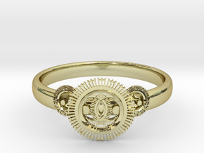 Gear ring(size = USA 5.5)  in 18k Gold Plated Brass