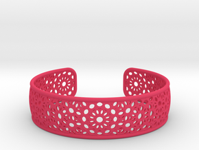 Open Flower Pattern Bracelet in Pink Processed Versatile Plastic
