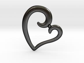 Heart Pendant in Matte Black Steel