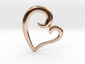 Heart Pendant in 14k Rose Gold Plated Brass