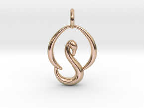 Swan Pendant in 14k Rose Gold Plated Brass