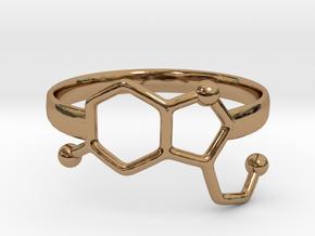 Serotonin Molecule Ring - Size 8 in Polished Brass
