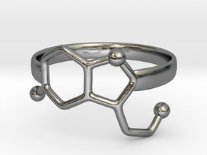 Serotonin Molecule Ring - Size 7 in Polished Silver