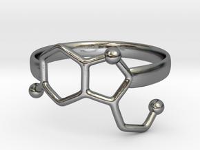 Serotonin Molecule Ring - Size 7 in Polished Silver