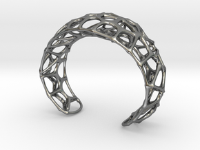 Voronoi Webb Fibre Cuff in Polished Silver