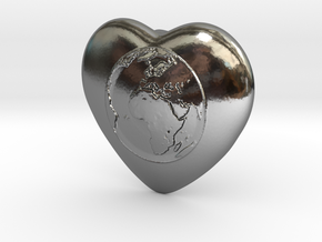 One World - One Humanity in Fine Detail Polished Silver