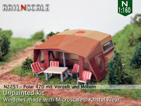 Polar 470 Caravan with tent (N 1:160) in Smooth Fine Detail Plastic