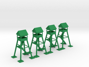 6mm Watch Tower (x4) in Green Strong & Flexible Polished