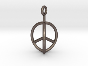 3D Peace Mark in Polished Bronzed Silver Steel