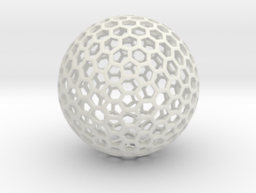 Polyhedra D75mm in White Natural Versatile Plastic