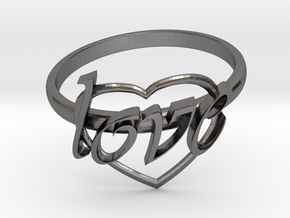 Ring Of Love in Polished Nickel Steel