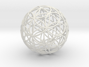 3D 300mm Orb of Life (3D Flower of Life)  in White Strong & Flexible