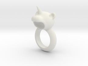 Bear Ring in White Natural Versatile Plastic