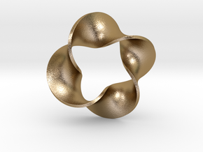 0159 Mobius strip (p=4, d=5cm) #007 in Polished Gold Steel