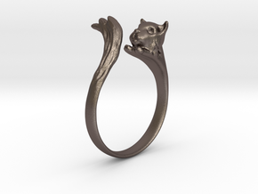 Silvercat Ring in Polished Bronzed Silver Steel: 8.5 / 58