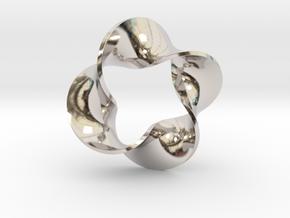 0159 Mobius strip (p=4, d=5cm) #007 in Rhodium Plated Brass