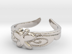 Butterfly Ring (Size 7) in Rhodium Plated Brass