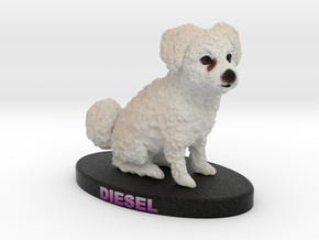 Custom Dog Figurine - Diesel in Full Color Sandstone