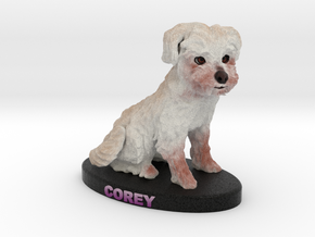 Custom Dog Figurine - Corey in Full Color Sandstone