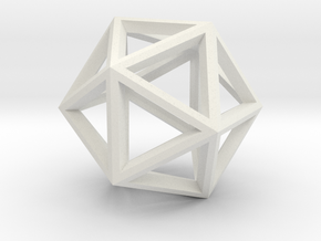 Icosahedron in White Natural Versatile Plastic