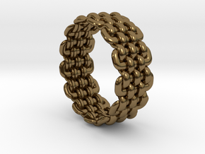 Wicker Pattern Ring Size 12 in Polished Bronze