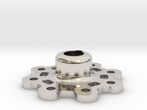 Mid Strength Wheel Hub (17 mm) in Rhodium Plated Brass