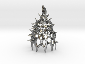 Calocyclas Radiolarian pendant in Polished Silver